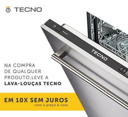 Lava-louças de embutir com porta em inox para revestir Tecno TD14EX.